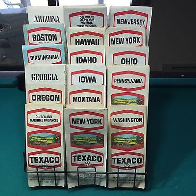 Lot of 32 Vintage COLLECTIBLE Texaco Travel Maps Cool With Display
