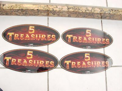 "Plexiglass 5 Treasures Casino Gambling Signs 13 1/8"" X 5 1/4"" X1/8"" Lot of 4"