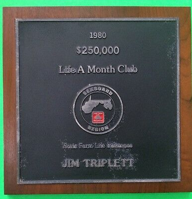 State Farm Life Insurance Award Plaque From 1980