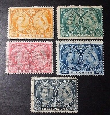 Canada Stamp Collection Jubilee Lot (5) Sc# 51, 52, 53, 54 & 58 Used - High Cv