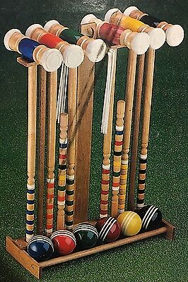NEW Vintage Sportcraft Yorkshire Croquet Set With Wood Stand GREAT GIFT!