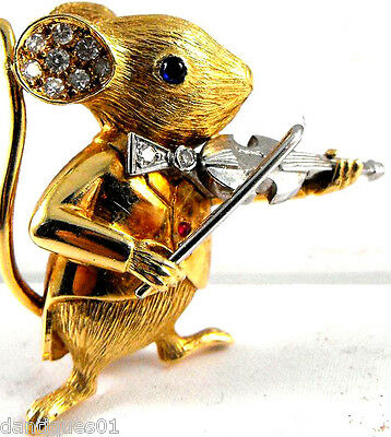 Stunning 18Ct Gold Mouse Violin Player - E.wolfe & Co Diamonds Rubies Very Rare