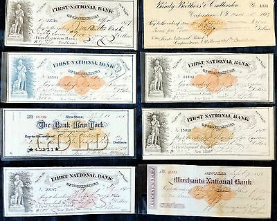 Obsolete Bank Check First & Merchant National NY Chicago Lot 4 Different Checks
