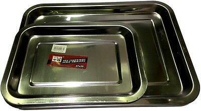 4x New Stainless steel Oblong Tray Serving Tray  Dinner Tray Kitchware