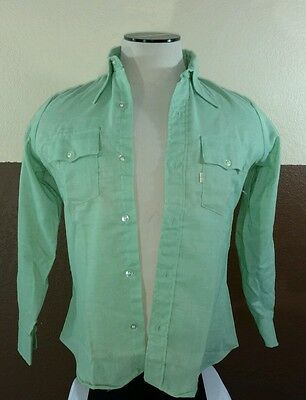Vtg NWOT 1970s Levis Deadstock Button Front Shirt Sz 11/12 Youth Green