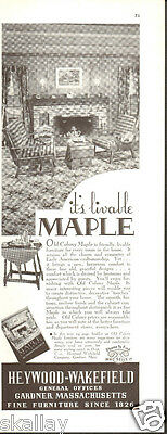 1937 Print Ad of Heywood Wakefield Old Colony Maple Furniture