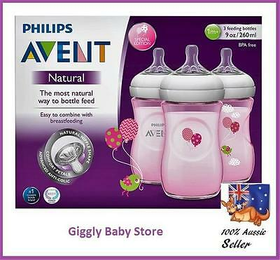 Philips Avent Natural Baby Bottles 3x260ml Pink Decorated Balloons BPA Free