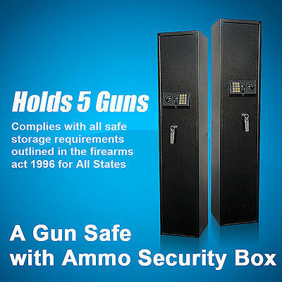 Gun Safe Firearm with Ammo Security Box + Access Keys + L-Lever - Holds 5 Guns