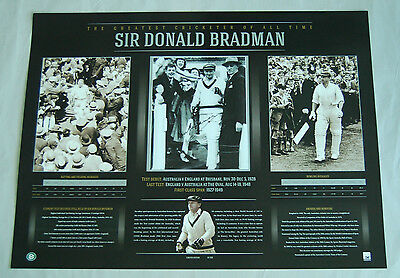 Sir Donald Bradman Signed Limited Edition Cricket Career Print Ashes World Cup