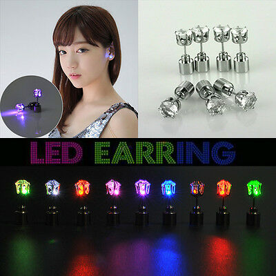 Fashion LED Earring Studs Bling Glowing Light Up Ear Accessory For Party Dance