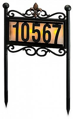 Solar Metal House Number Display Lamp Doorplate Powered Led Address Stainless