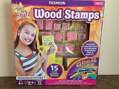 New Wood Stamps Kit Just My Style 15 Wood Stamps Plus Pad Markers Cards Paper