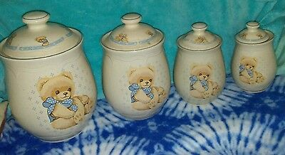 Vintage Tienshan Stoneware~Thoedore Country Bear~Set of 4 Canisters