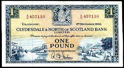 Clydesdale & North Bank. One Pound, A/U 457110, 1-11-1960, Nearly Very Fine.