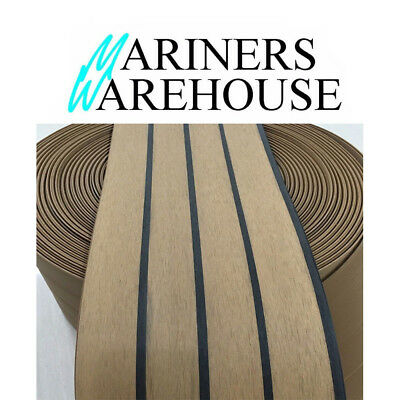 """WPC Synthetic Teak Decking Roll With Black Caulking Line Stripe 7.5"""" 190mm Wide"""