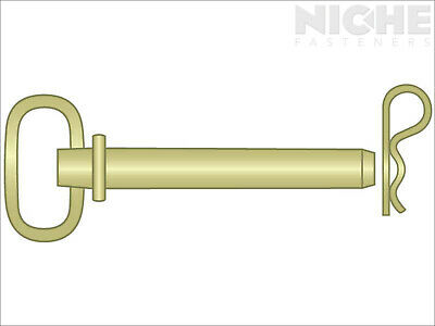 Hitch Pin Round Handle 1 x 4-1/4 C1035-1045 Zinc Yellow (2 Pieces)