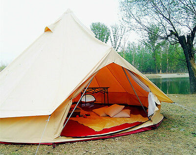 5M Bell Tent Cotton Dyed Fabric Waterproof Beige and with Chimney Outdoor