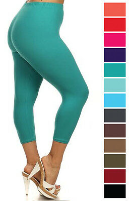 New Women's Plus Size Capri Cropped Solid Leggings Soft Stretchy 1XL-3XL 128