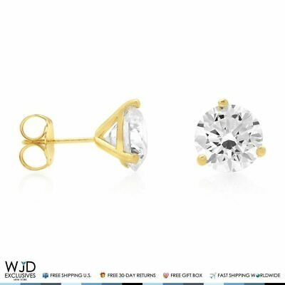 4Ct Round Created Diamond 14K Yellow Gold Solitaire Martini Stud Earrings 8mm