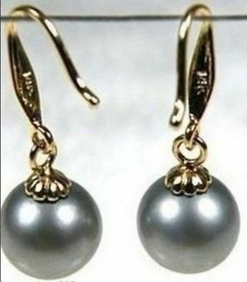 classic natural 9-10mm AAA+ Round TAHITIAN gray pearl earrings 14K Yellow gold