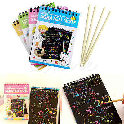 Black Cardboard Scratch Note Creative DIY Draw Sketch Notes for Kid Toy Notebook