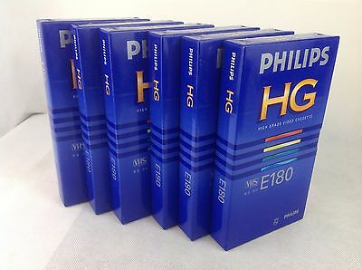 6 x  Philips E-180min Blank VHS Video Tapes - New & Sealed - SIX TAPES
