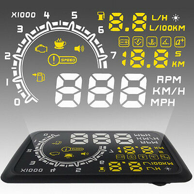 W02 5in Head Up Display HUD Car OBD2 Voltage Speed Warning Fuel Consumption#F
