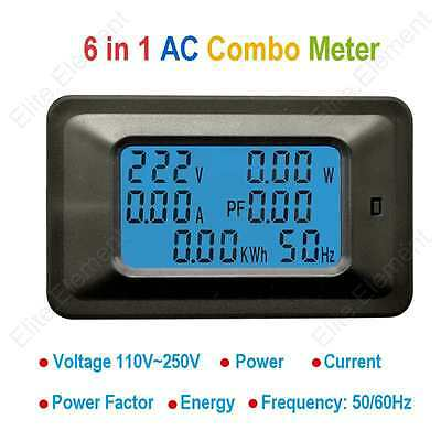 AC Combo Meter Voltmeter Ammeter 250V 50A Power Factor Energy Frequency With CT