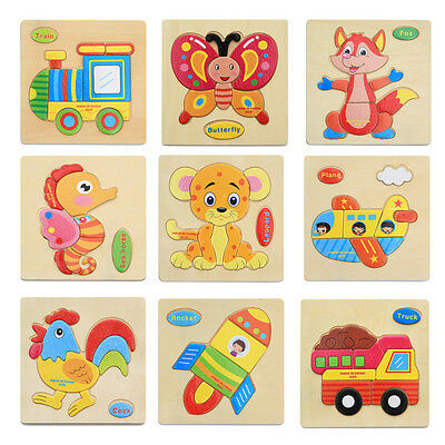 3D Wooden Cartoon Animal Puzzle Craft Block Toys Baby Kids Educational Toys Gift