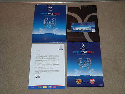 2006 Champions League Final Arsenal v Barcelona Programme + Ticket etc