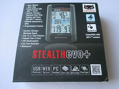 Cateye Stealth Evo + GPS Ant+ Enabled Wireless Computer BRAND NEW IN SEALED BOX