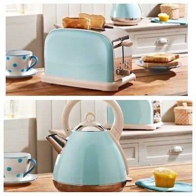 Prolex Pastel Blue Pyramid Kettle 300W Fast Boil & 2 Slice Pastel Blue Toaster