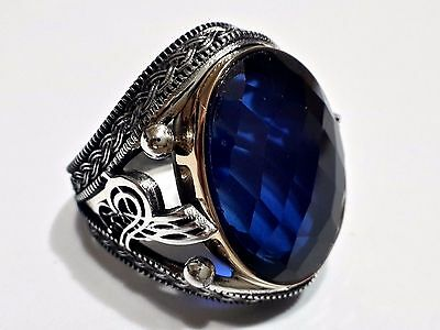 Turkish Ottoman Vintage Amethyst Gemstone Solid 925 Sterling Silver Men Ring