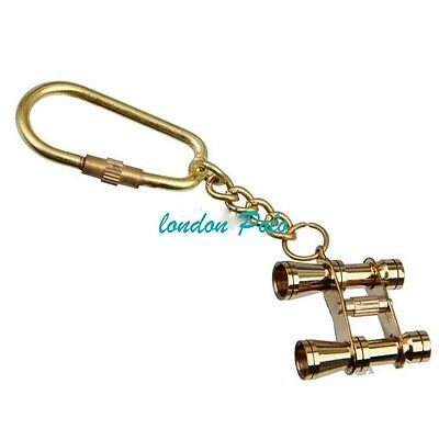 Vintage Brass Carabiner D-Ring Keychain Clip with Binocular Charm Pendant