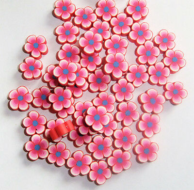 38 x Red, Pink and Blue Flower Shaped Polymer Clay Beads  10-12mm