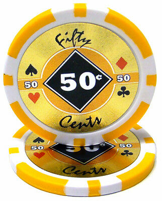 100 Eclipse 14g Orange 50¢ Fifty Cents Poker Chips Buy 2 Get 1 Free NEW