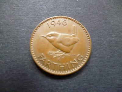 1946 Farthing Coin, King George The Sixth In Good Used Condition, Bronze.