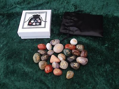 +Crystal Rune Set Mixed Gems, Pouch & Instructions Boxed. Pagan Wicca Divination