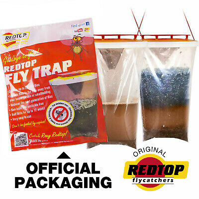 Fly Bag Trap RED TOP CATCHER Kills 20,000 Flies Insects Pest Control Killer