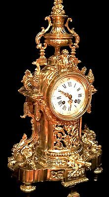 SPLENDID MARTI & Cie VERY LARGE HEAVY FRENCH ANTIQUE GILT SOLID BRONZE CLOCK 23""