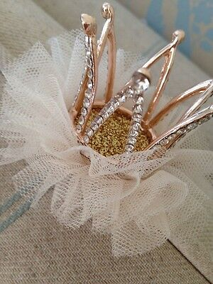 Mini Rhinestone Baby Crown . Silver Baby Clip On Crown . Tulle Detail. Princess