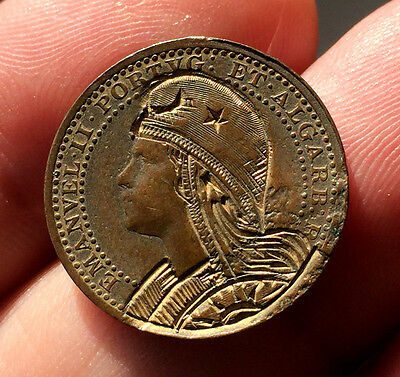 ¡¡ Very Rare !! Coin 5 Reis Emanuel Ii Of Portugal. 1910. Roman Engraving!!