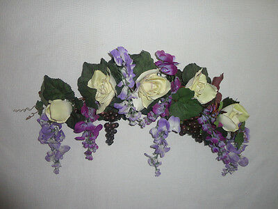 4 Your Home Interiors  32'' Purple Flowers & Cream Rose'' Swag/ Accents