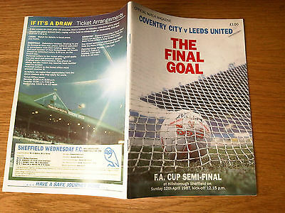 Coventry City Football Club v Leeds United 1987 FA Cup SEMI FINAL Match Magazine
