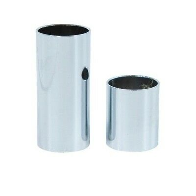 Pack of 2 Finger and Knuckle Metal Chrome Guitar Slides (S, M, L, XL)