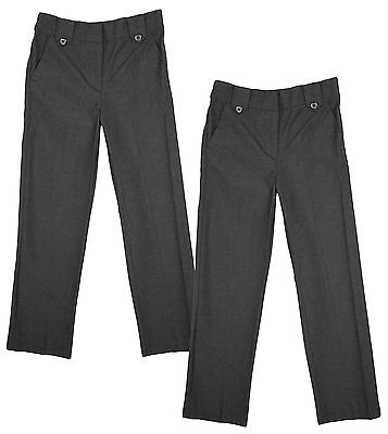 Girls Trousers Uniform Grey PACK OF 2 Pairs School Value Smart 4 to 13 Years
