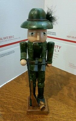 """Hunter Wooden Nutcracker with Rifle 12"""""""