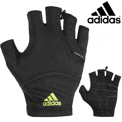 Adidas Essential Climacool Gloves Fingerless Football Running Gym Training Black
