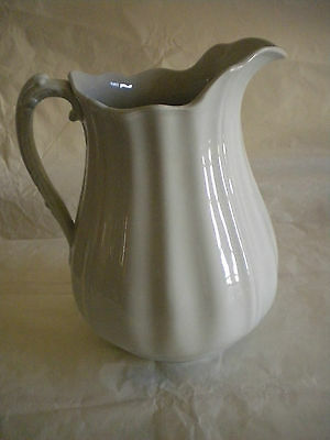 "Antique White Ironstone Ornate Handle Pitcher J&G Meakin Hanley England 11"" tall"