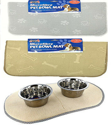 Large Microfibre Pet Cat Dog Puppy Kitten Bowl Feeding Mat Non Slip Drip Mess